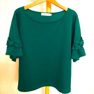 クチュールブローチ(Couture Brooch)のCouture brooch フリル袖リボン付きトップス グリーン(カットソー(半袖/袖なし))
