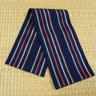 紺色の博多織り 半幅帯(帯)