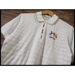 ダックス(DAKS)のG② DAKS ダックス ゴルフ カラフル 刺繍 裏ボーダー ポロ シャツ M(ポロシャツ)