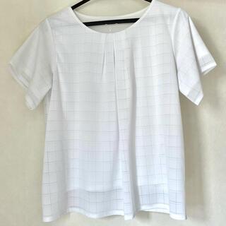 スーツカンパニー(THE SUIT COMPANY)のブラウス スーツ 白 チェック(シャツ/ブラウス(半袖/袖なし))