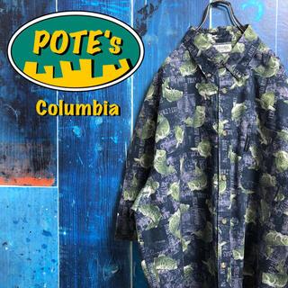 Columbia - 【コロンビア】ブラックバスフィッシュ柄ロゴタグ入り半袖ビッグ総柄シャツ