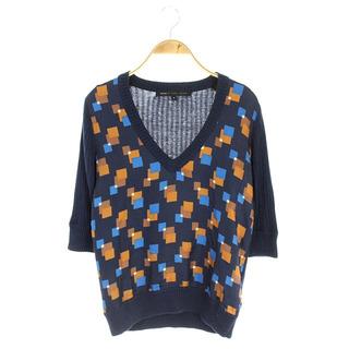 マークバイマークジェイコブス(MARC BY MARC JACOBS)のマークバイマークジェイコブス 総柄七分袖ニット セーター 七分袖 S 紺 茶 青(ニット/セーター)