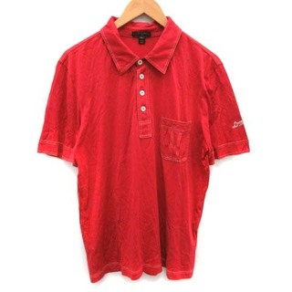 ルイヴィトン(LOUIS VUITTON)のルイヴィトン ポロシャツ 半袖 ステッチ ロゴワッペン シルク XL 赤(その他)