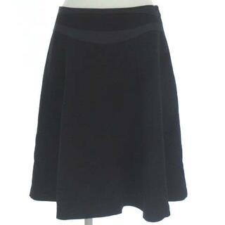 ヴィヴィアンタム(VIVIENNE TAM)のヴィヴィアンタム フレア スカート ひざ丈 膝丈 切替 シルク混 絹混 黒 0(ひざ丈スカート)