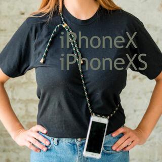 ビューティアンドユースユナイテッドアローズ(BEAUTY&YOUTH UNITED ARROWS)のストラップ ショルダー iPhoneケース グリーン 緑 柄 クリアケース 透明(iPhoneケース)