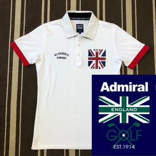 アドミラル(Admiral)の美品 アドミラルゴルフ ユニオンジャック柄胸ポケット付半袖ポロシャツ タイトめL(ウエア)
