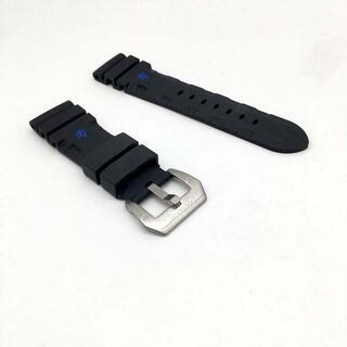 送料無料交換用時計ラバーベルトパネライ互換品ラグ幅24mm F黒青