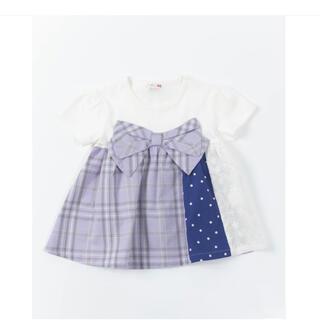 KP - 【100サイズ】KP ビッグリボン先染めチェックの切替半袖Tシャツ
