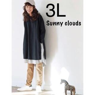 フェリシモ(FELISSIMO)のSunny clouds ちらりストライプワンピース 3L 大きいサイズ (ひざ丈ワンピース)