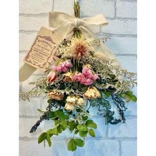 ドライフラワー スワッグ❁39 ローズ 薔薇 オレンジ ピンク ユーカリ 花束(ドライフラワー)