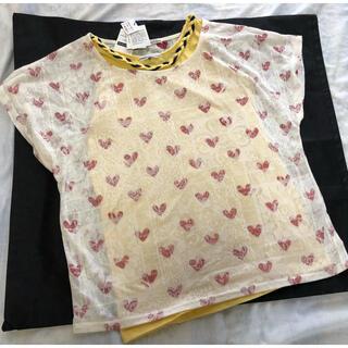 ラフ(rough)の新品・タグ付! ラフ 可愛いアンサンブル 黄色キャミ&ハート柄半袖カットソー(アンサンブル)
