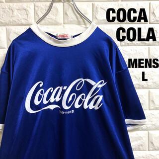 コカコーラ デカロゴ ドライ リンガーTシャツ メンズLサイズ(Tシャツ/カットソー(半袖/袖なし))