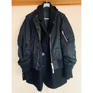 サカイ(sacai)の超レア 美品 15万円 sacai MA1 ジャケット ブラック サイズ2(ブルゾン)