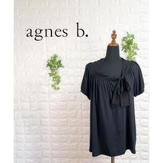 アニエスベー(agnes b.)の284 アニエスベー ウォッシャブル タイ付 ブラウス トップス 黒 ブラック(シャツ/ブラウス(半袖/袖なし))