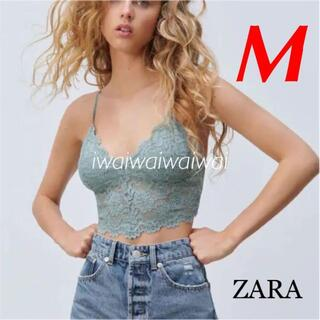 ZARA - 新品 ZARA M クロップド レース トップス ブラレット