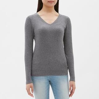 GU - 【極美品】GU ワイドリブVネックセーター