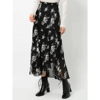 マーキュリーデュオ(MERCURYDUO)のmercuryduo 楊柳刺繍イレヘムロングスカート(ロングスカート)