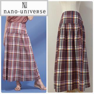 nano・universe - ナノユニバース マドラスチェック柄ロングスカート