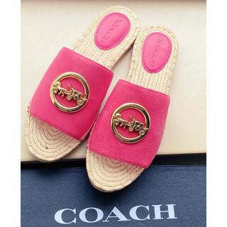 コーチ(COACH)のコーチCOACH♡サンダルホースバックル レザーエスパドリーユ pink(サンダル)