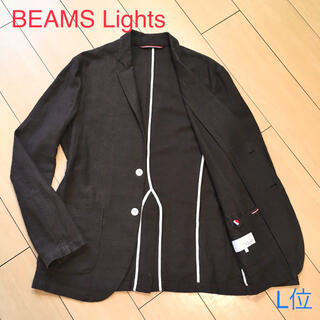 ビームス(BEAMS)の美品★ビームス リネン混ブラウン春夏ジャケット アンコン仕立て 麻 茶 A250(テーラードジャケット)
