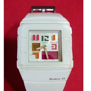 ベビージー(Baby-G)のBaby-G スクエア ホワイト カシオ かわいい時計 廃盤 コレクション可動品(腕時計)