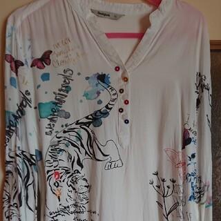 デシグアル(DESIGUAL)のDesigualレア物ホワイトタイガーシャツ(シャツ/ブラウス(長袖/七分))