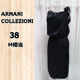 アルマーニ コレツィオーニ(ARMANI COLLEZIONI)のARMANI ドレス ワンピース ブラック バラ ローズ(ひざ丈ワンピース)