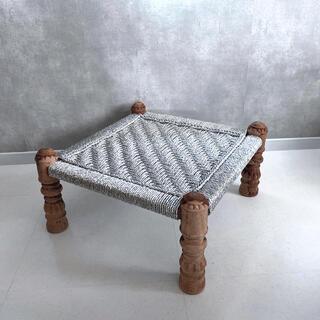 シルバー ラタン オットマン チェア 椅子 スツール 編み クラシカル (オットマン)