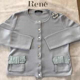 ルネ(René)のReneルネ★ポケット リボンカーディガン★34★スモーキーブルー(カーディガン)