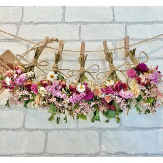 ドライフラワー スワッグ ガーランド❁305薔薇 ピンク 白 スターチス 花束(ドライフラワー)