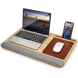 膝上テーブル 竹製 ノートパソコン用ラップデスク ベッドテーブル 15.6インチ(その他)