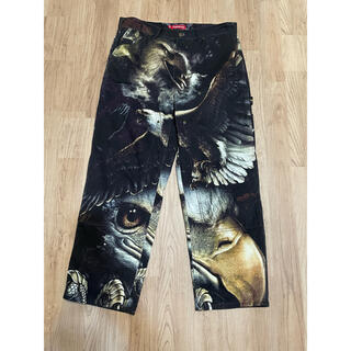Supreme - 34インチ 黒 supreme eagle double knee pants