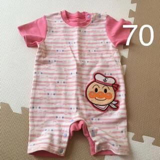 アンパンマン(アンパンマン)のアンパンマン 半袖ロンパース 70cm ピンク ボーダー柄 カバーオール(ロンパース)
