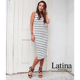 アナップラティーナ(ANAP Latina)のANAP Latina サイドスリットタイトフィットボーダワンピース(ロングワンピース/マキシワンピース)
