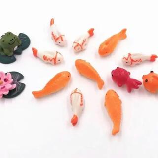 【匿名配送】ミニチュア 人形 金魚 カエル 小物 置物(ミニチュア)