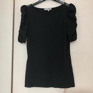 ローラアシュレイ(LAURA ASHLEY)のローラアシュレイ カットソー  黒(Tシャツ(半袖/袖なし))
