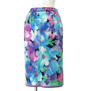 レオナール(LEONARD)のレオナール FASHION スカート 膝丈 タイト 花柄 コットン 青 紫 72(ひざ丈スカート)