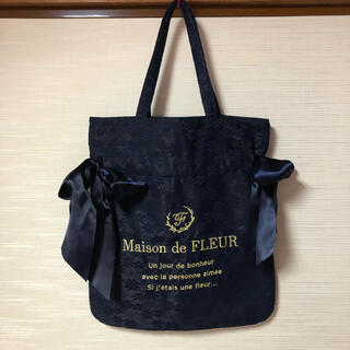 メゾンドフルール(Maison de FLEUR)のMaison de FLEUR レースダブルリボントート トートバッグ ネイビー(トートバッグ)