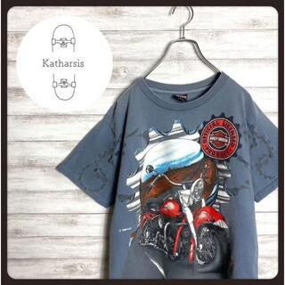 【USA製】90s ハーレーダビッドソン バイクロゴ ビックサイズ Tシャツ(Tシャツ/カットソー(半袖/袖なし))