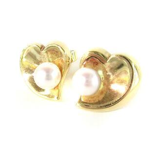 ミキモト(MIKIMOTO)のミキモト ピアス K18 刻印 ハート 真珠 パール YG イエローゴールド(ピアス)