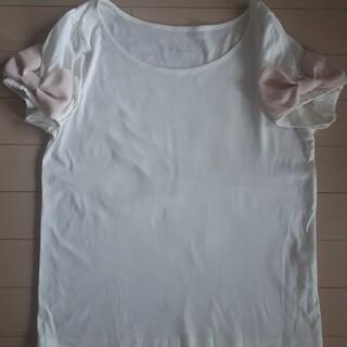 クチュールブローチ(Couture Brooch)のクチュールブローチ 36 S 白色×ピンク 袖リボン 半袖カットソー Tシャツ(カットソー(半袖/袖なし))
