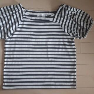 クチュールブローチ(Couture Brooch)のクチュールブローチ サイズ38 M 紺×白 肩リボン ボーダー柄 半袖カットソー(カットソー(半袖/袖なし))