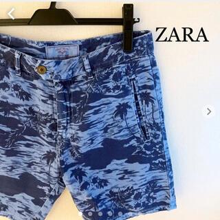 ZARA - ZARA ザラ ショートパンツ 総柄 ブルー