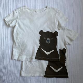 muji くま 半袖 Tシャツ 2枚セット 無印良品 ツキノワグマ(Tシャツ/カットソー)