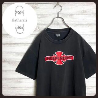 【入手困難】90s インディペンデント ブラック センターロゴ Tシャツ(Tシャツ/カットソー(半袖/袖なし))