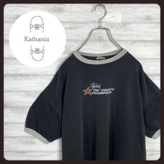 ステューシー(STUSSY)の【USA製】90sオールドステューシー 白タグ センターロゴ リンガーTシャツ(Tシャツ/カットソー(半袖/袖なし))