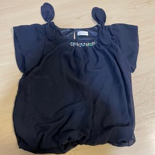 ロディスポット(LODISPOTTO)のLODISPOTTO  カットソー ネイビー M  ビーズパール付(カットソー(半袖/袖なし))