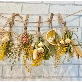 ドライフラワー スワッグ ガーランド❁302 黄色ミモザ 白オレンジ 花束♪(ドライフラワー)