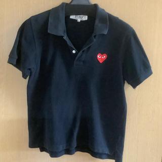 コムデギャルソン(COMME des GARCONS)の【名作!貴重】Lサイズ 黒 コムデギャルソン予備ボタン付 ポロシャツ(ポロシャツ)