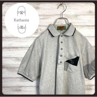 ケンゾー(KENZO)の【入手困難】KENZO ケンゾー ワンポイント刺繍ロゴ グレー リブ ポロシャツ(ポロシャツ)